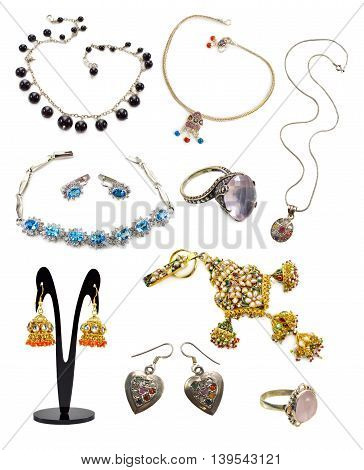 Set with ethnic jewelry collection isolated on white