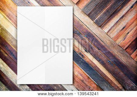 Blank Folded Paper Poster Hanging On Diagonal Wooden Wall,template Mock Up For Adding Your Design