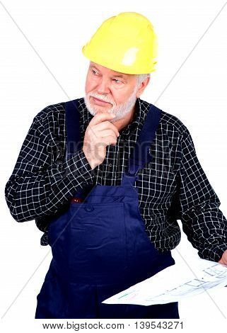 Male senior engineer isolated on white background