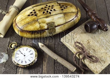 Vintage still life with retro objects, diary, pipe and clock