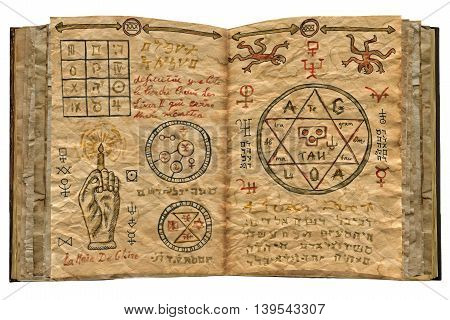 Magic book with mystic symbols and pentagram isolated on white