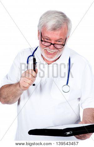 Senior male doctor smiling isolated on white background