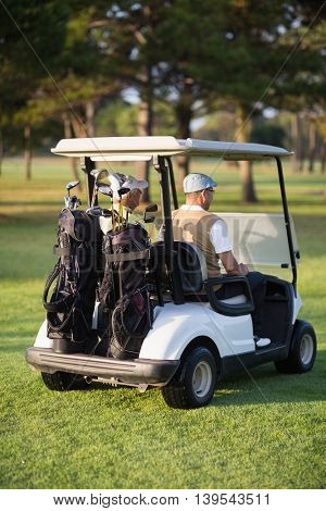 Rear view of male golfer friends sitting in golf buggy on sunny day