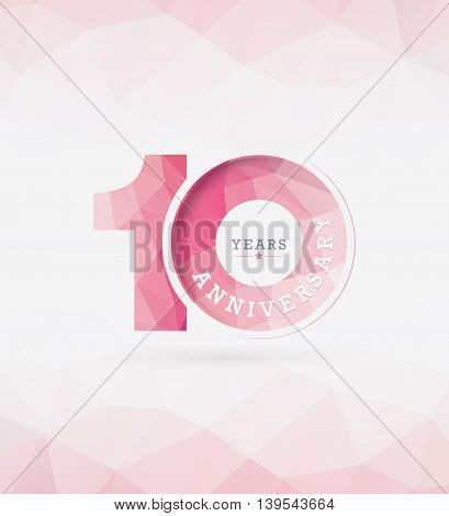 10th Years Anniversary Celebration Design in Abstract Polygon Background