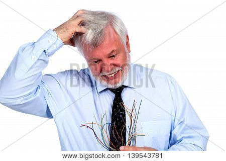 Man with cables in hand tearing her hair