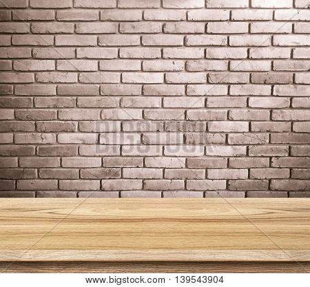 Empty Wood Table And Red Brick Wall In Background. Product Display Template.