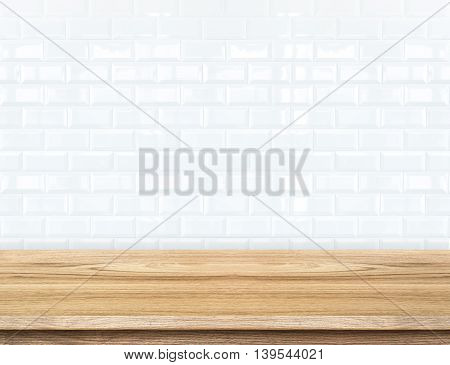 Empty Wood Table And Ceramic Tile Brick Wall In Background. Product Display Template.