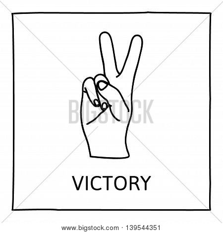 Doodle PEACE and VICTORY icon. Hand drawn gesture symbol. Line art style graphic design element. Success, pacifist, political position concept. Vector illustration