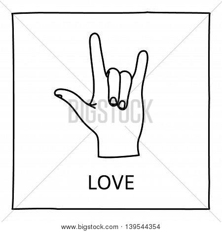 Doodle LOVE icon. Hand drawn gesture symbol. Line art style graphic design element. Sign language gesture. ILY concept. Vector illustration