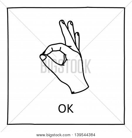 Doodle OK icon. Hand drawn gesture symbol. Line art style graphic design element. Approval, vote, love, favorite gesture concept. Vector illustration