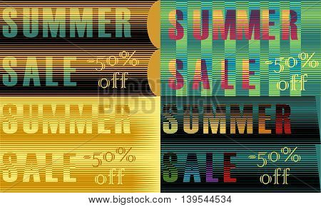 Cards with inscriptions for retail. Striped artistic font. Summer sale. Fifty percents off. Vector illustration