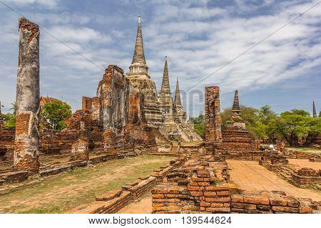 wat phrasisanphet Ayuttaya temple city in Thailand