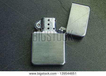 Template Of Vintage Silver Lighter For Branding On A Black Background