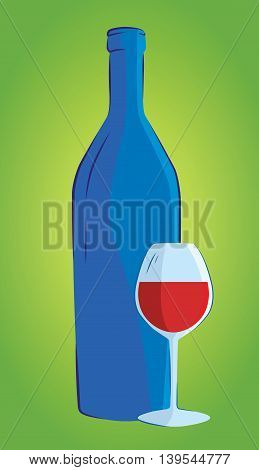 Wine bottle and wine glass , isolated on white background.