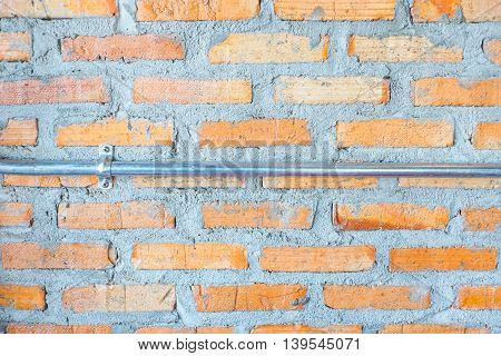 Orange Brick Wall And Concrete With Electronic Line Tube ,texture Background