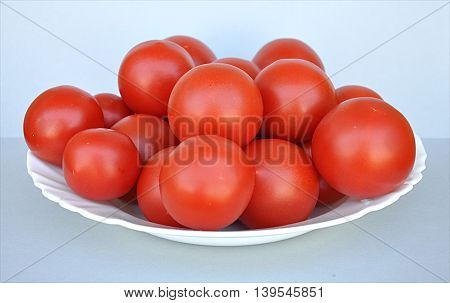 Closeup view of a fresh red tomatoes