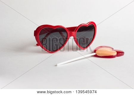 Red Heart Shape Glasses With Heart Lollipop