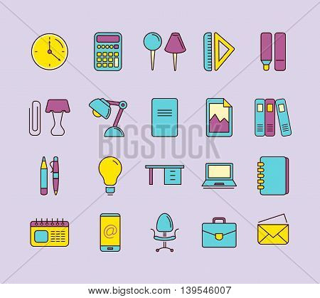 vector Conceptual icons set with stationery elements isolate on dark background. Illustrtations in linear stile