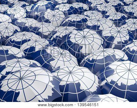 Umbrellas With Flag Of Antarctica