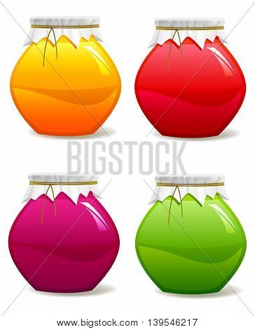Set of jars with jam. Vector illustration