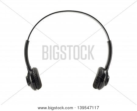 front view of black headphone isolated on white background