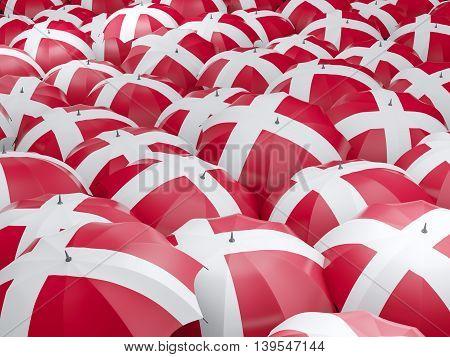 Umbrellas With Flag Of Denmark