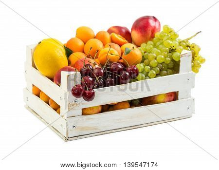 Wooden Box With Different Fruits
