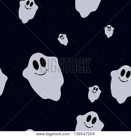 Seamless pattern with funny colored ghosts for Halloween