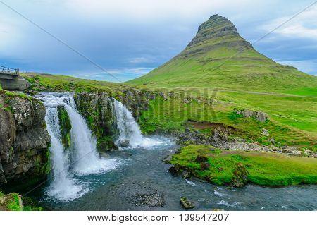 Kirkjufell Mountain , And The Kirkjufellsfoss Waterfalls