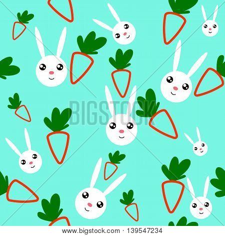 Seamless with cartoon carrots and rabbits. It can be used for decoration kitchen accessories tablecloths fabrics cutting boards or other