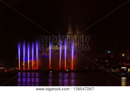 Firework in fron of the cathedral Cologne Germany