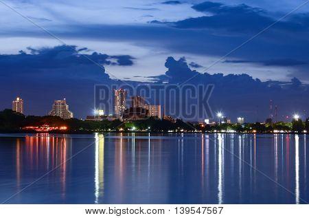 Night view lakeside city of Khon Kaen.