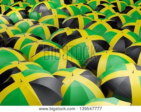 Umbrellas With Flag Of Jamaica