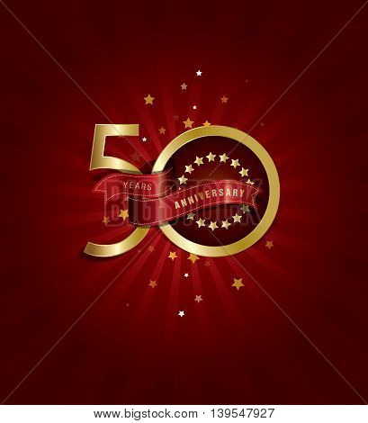 50 years anniversary background with Stars, Golden Text and Ribbon