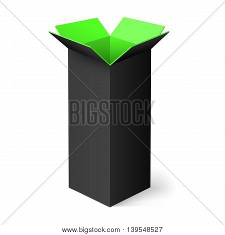 Black opened rectangular box with green color inside