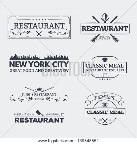 Set of retro logo and emblems badges and insignias labels and signs for restaurant menu or other food business with fork and spoon crown and knives.