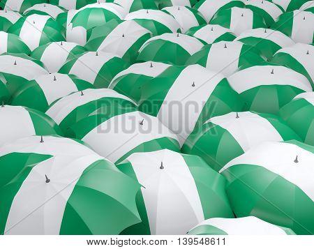 Umbrellas With Flag Of Nigeria