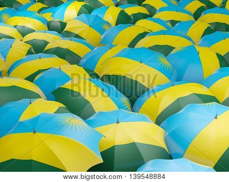 Umbrellas With Flag Of Rwanda