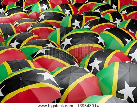 Umbrellas With Flag Of Saint Kitts And Nevis