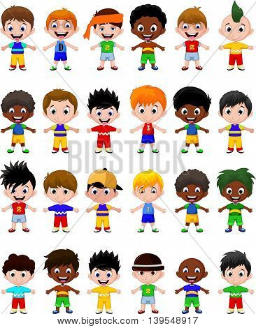 set of cute boy kids cartoon character