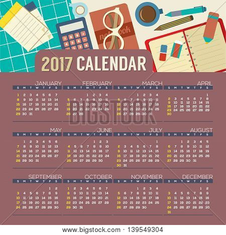 Flat Design Top View Workplace 2017 Printable Calendar Starts Sunday Vector Illustration. EPS 10