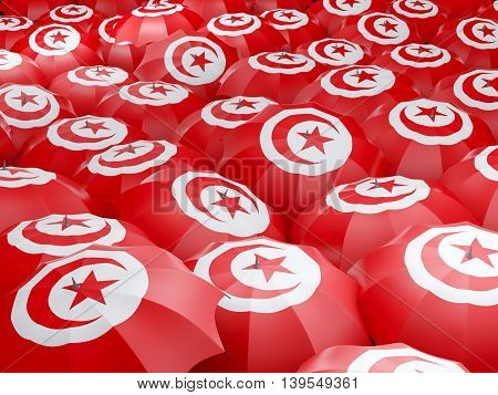 Umbrellas With Flag Of Tunisia