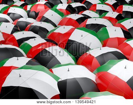 Umbrellas With Flag Of United Arab Emirates