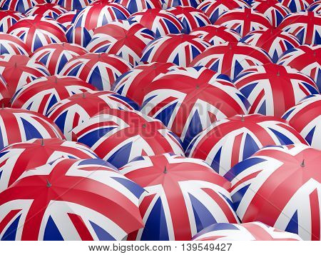 Umbrellas With Flag Of United Kingdom