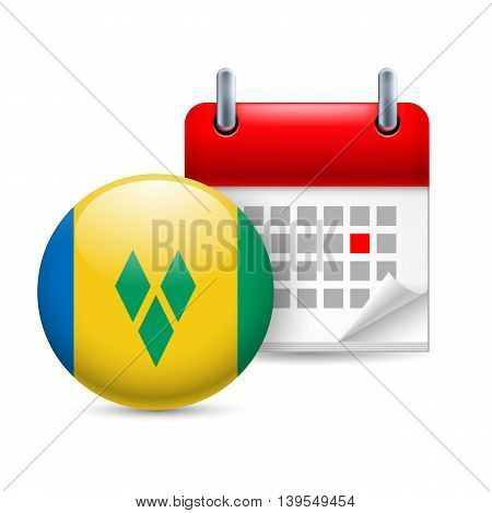 Calendar and round flag icon. National holiday in Saint Vincent and the Grenadines