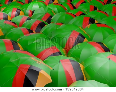 Umbrellas With Flag Of Zambia