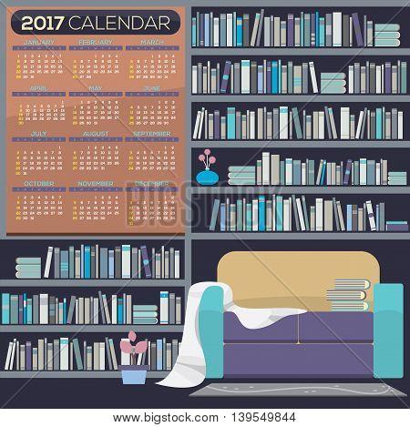 Flat Design Reading Room 2017 Printable Calendar Starts Sunday Vector Illustration. EPS 10