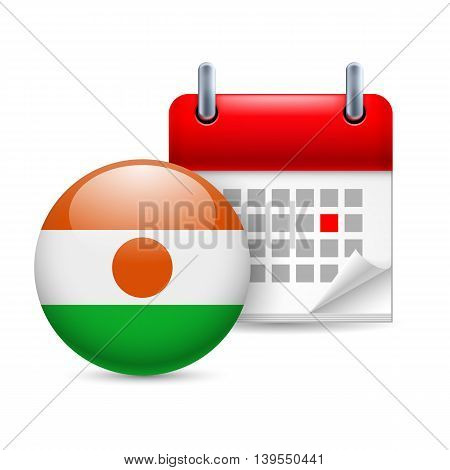 Calendar and round Nigerien flag icon. National holiday in Niger