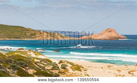 Sugarloaf Rock a famous coastal landmark near the town of Dunsborough in South-West Australia. The rock is the world's most southerly nesting site for the Red-Tailed Tropic Bird.