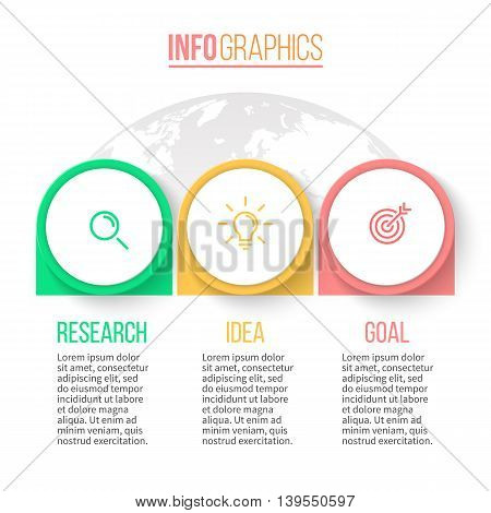 Business infographics. Timeline with 3 steps, arrows. Vector design template.